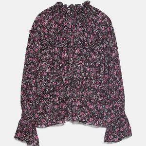 Zara Ruffled Print Blouse